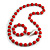 Red Wood and Silver Acrylic Bead Necklace, Earrings, Bracelet Set - 70cm Long