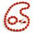 Orange Wood and Silver Acrylic Bead Necklace, Earrings, Bracelet Set - 70cm Long