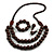 Chunky Brown Long Wooden Bead Necklace, Flex Bracelet and Drop Earrings Set - 90cm Long