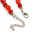 Red Glass/ Ceramic Bead with Silver Tone Spacers Necklace/ Earrings/ Bracelet Set - 48cm L/ 7cm Ext - view 4