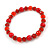 Red Glass/ Ceramic Bead with Silver Tone Spacers Necklace/ Earrings/ Bracelet Set - 48cm L/ 7cm Ext - view 6