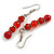 Red Glass/ Ceramic Bead with Silver Tone Spacers Necklace/ Earrings/ Bracelet Set - 48cm L/ 7cm Ext - view 3