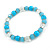 Light Blue/ Transparent Glass/ Ceramic Bead with Silver Tone Spacers Necklace/ Earrings/ Bracelet/ Ring Set - 48cm L/ 7cm Ext, Ring Size 7/8 Adjustabl - view 8