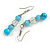 Light Blue/ Transparent Glass/ Ceramic Bead with Silver Tone Spacers Necklace/ Earrings/ Bracelet/ Ring Set - 48cm L/ 7cm Ext, Ring Size 7/8 Adjustabl - view 11