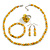 Yellow Glass/ Ceramic Bead with Silver Tone Spacers Necklace/ Earrings/ Bracelet/ Ring Set - 48cm L/ 7cm Ext, Ring Size 7/8 Adjustable