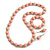 Light Pink  Wood and Silver Acrylic Bead Necklace, Earrings, Bracelet Set - 70cm Long