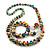 Multicoloured Wooden Bead Long Necklace, Drop Earrings, Flex Bracelet Set - 80cm Long - view 8