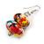 Multicoloured Wooden Bead Long Necklace, Drop Earrings, Flex Bracelet Set - 80cm Long - view 11