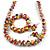 Multicoloured Wooden Bead Long Necklace, Drop Earrings, Flex Bracelet Set - 80cm Long - view 6