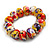 Multicoloured Wooden Bead Long Necklace, Drop Earrings, Flex Bracelet Set - 80cm Long - view 5
