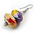 Multicoloured Wooden Bead Long Necklace, Drop Earrings, Flex Bracelet Set - 80cm Long - view 9