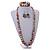 Multicoloured Wooden Bead Long Necklace, Drop Earrings, Flex Bracelet Set - 80cm Long - view 2