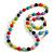 Multicoloured Wood and Silver Acrylic Bead Necklace, Earrings, Bracelet Set - 70cm Long