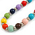 Multicoloured Wood and Silver Acrylic Bead Necklace, Earrings, Bracelet Set - 70cm Long - view 7