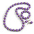 Lilac Wood and Silver Acrylic Bead Necklace, Earrings, Bracelet Set - 70cm Long