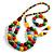 Chunky Multicoloured Long Wooden Bead Necklace, Flex Bracelet and Drop Earrings Set - 90cm Long - view 9
