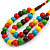 Chunky Multicoloured Long Wooden Bead Necklace, Flex Bracelet and Drop Earrings Set - 90cm Long - view 8