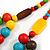 Chunky Multicoloured Long Wooden Bead Necklace, Flex Bracelet and Drop Earrings Set - 90cm Long - view 5