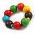 Chunky Multicoloured Long Wooden Bead Necklace, Flex Bracelet and Drop Earrings Set - 90cm Long - view 6
