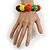 Chunky Multicoloured Long Wooden Bead Necklace, Flex Bracelet and Drop Earrings Set - 90cm Long - view 4