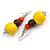 Chunky Multicoloured Long Wooden Bead Necklace, Flex Bracelet and Drop Earrings Set - 90cm Long - view 7