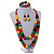 Chunky Multicoloured Long Wooden Bead Necklace, Flex Bracelet and Drop Earrings Set - 90cm Long - view 2