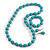 Turquoise Blue Wood and Silver Acrylic Bead Necklace, Earrings, Bracelet Set - 70cm Long