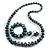 Blue/ Black/ White/ Silver Wooden Bead Long Necklace, Drop Earrings, Flex Bracelet Set - 80cm Long