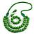 Chunky Green Long Wooden Bead Necklace, Flex Bracelet and Drop Earrings Set - 90cm Long