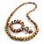 Multicoloured Wooden Bead Long Necklace, Drop Earrings, Flex Bracelet Set - 80cm Long