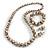 White/ Black/ Green/ Magenta Wooden Bead Long Necklace, Drop Earrings, Flex Bracelet Set - 80cm Long