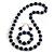 Dark Blue Wood and Silver Acrylic Bead Necklace, Earrings, Bracelet Set - 70cm Long