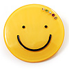 Yellow Plastic Smiling Face Brooch