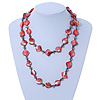 Long Brick Red Shell & Metal Bead Necklace - 110cm Length