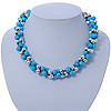 Light Blue & Silver Tone Acrylic Bead Cluster Choker Necklace - 38cm L/ 5cm Ex
