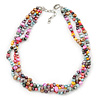 7-8mm Multicoloured Baroque Freshwater Pearl, 3 Strand Twisted Necklace - 46cm L/ 5cm Ext