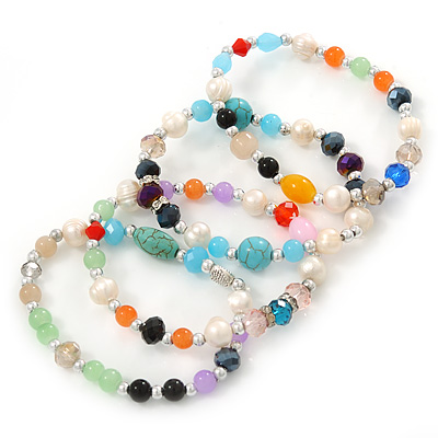 Multicoloured Semi-Precious Stone, Freshwater Pearl and Crystal Bead Flex Bracelets - Set Of 4 Pcs - 18cm L