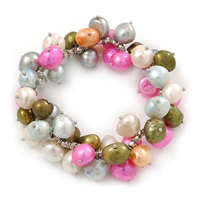 10mm Multicoloured Freshwater Pearl Cluster Stretch Bracelet - 20cm L