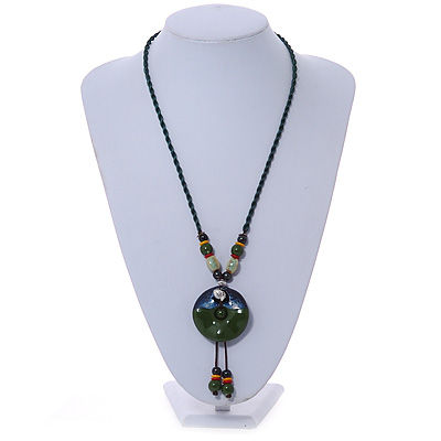 Avalaya Wood O Shaped Pendant Suede Black /& Blue Cord Necklace 50cm Length
