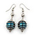Silver Tone Forest Green Faux Pearl Drop Earrings - 5.5cm Drop